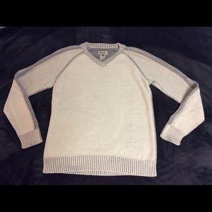 American Rag Sweater Striped Sleeve V-Neck Grey S